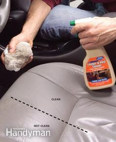 Clean and condition leather or vinyl seats First spray on leather cleaner and rub vigorously with a clean terry cloth towel. To avoid rubbing the grime back into the seats, keep flipping the cloth to expose a fresh surface. Let the seats dry for an hour and then rub in a leather conditioner like Lexol to keep the leather supple. It's available at discount stores and auto stores.