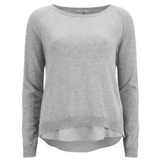 ONLY Women's Lynne Split Back Sweatshirt ($27) ❤ liked on Polyvore featuring tops, hoodies, sweatshirts, grey, scoopneck top, sweat shirts, grey sweatshirt, raglan top and gray sweatshirt