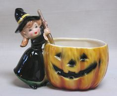 FAB Vintage HALLOWEEN Relpo Witch & JOL Planter Candle Holder