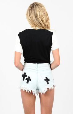 Bitching and Junkfood White Cross Shorts - Shop Bitching and Junkfood - Beginning Boutique - Online Boutique by Bitching and Junkfood | Beginning Boutique