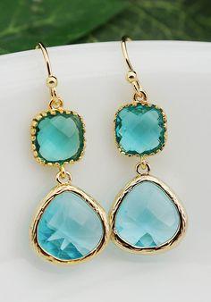 Wedding Jewelry Bridesmaid Earrings Dangle Earrings Gold Framed Blue Zircon and Aquamarine glass drop Earrings Bridesmaid Jewelry