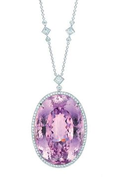 GABRIELLE'S AMAZING FANTASY CLOSET | Tiffany 175.51 Carat Oval Kunzite mounted in an 18k White Gold, Diamond Paved, Filigree Setting. | You can see the rest of the Outfit and my Remarks on this board. - Gabrielle