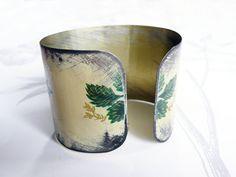 fauve bouquet vintage tin bracelet by littleblackrabbit on Etsy