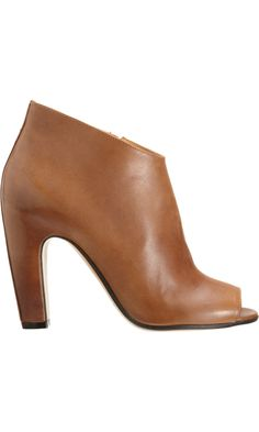 Maison Martin Margiela Line 22 Side Zip Ankle Boot #tan #leather #peeptoe #booties #Barneys