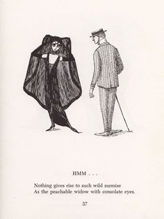 Scrap Irony: Irreverent Illustrated Cultural Commentary by Edward Gorey circa 1961 – Brain Pickings Edward Gorey, Tim Burton, Illustrations, Illustration Art, Pbs Mystery, John Kenn, Handwritten Text, Arte Sketchbook, Macabre