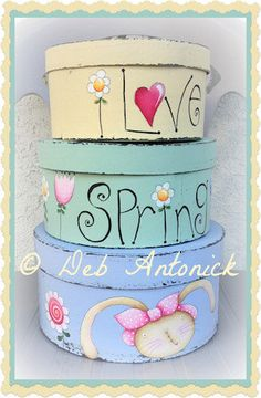 I love Spring by Deb Antonick, email pattern packet - Originally published in Paint it Today Feb/Mar 2014 - Prev. Tole Painting, Painting On Wood, Teen Bedroom Designs, Girls Bedroom, Diy And Crafts, Crafts For Kids, Cardboard Box Crafts, Kids Room Paint, Decoupage Box