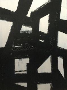 30 x 40 «x2» peinture abstraite réalisée sur toile tendue avec texturé noir et les teintes de peintures acryliques blanc. Cette pièce est finie avec un collage de papiers imprimés sur les côtés et câblée pour la pendaison.