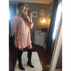 "Blush oversized tunic •Please don't purchase this listing•Sheer & adorable oversized tunic. Super versatile, can be paired with leggings or jeans and a bootie. The color is blush (not so pink in person). Looks sexy and cute worn with a bralette or nude bra! •modeling a small • Small: 31"" Medium :32"" Large: 33"" • price is firm  Tops Tunics"
