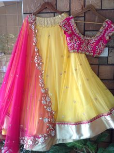 yellow georgette beautiful ceremonial lehenga choli - Fabric :Georget lehnga with stone & Zari work ( 3 metre flair )Banglori satin blouse with zari work ( unstich )Georget duppata with zari & cutwork border Half Saree Lehenga, Lehnga Dress, Net Lehenga, Anarkali, Half Saree Designs, Lehenga Designs, Saree Blouse Designs, Long Gown Dress, The Dress