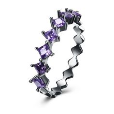 Golden NYC Jewelry Black Gun Plating Diamond Cut Amethyst Ring ($13) ❤ liked on Polyvore featuring jewelry, rings, jewelry & watches, purple, amethyst diamond ring, golden diamond ring, amethyst rings, diamond jewellery and purple diamond jewelry