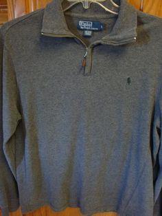 RALPH LAUREN POLO Mens 1/2 zip pullover sweater LARGE L Gray Elbow Patches #RalphLaurenPolo #12Zip