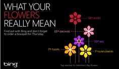 Know what your Valentine's flowers mean? Check it out, and see which flowers are getting the most love on Bing searches.  http://binged.it/XjNsyJ
