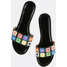 Geometric Patent Slide Sandals BLACK ($25) ❤ liked on Polyvore featuring shoes, sandals, black, black slide sandals, black patent flats, multi color sandals, black flats and patent leather sandals