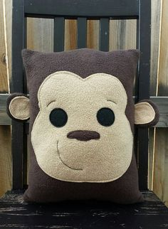 Monkey Monkey Pillow Plush cushion gift by telahmarie on Etsy
