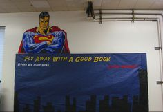 Fly Away With A Good Book Superhero Classroom Theme Split on side chalkboard with spiderman's BB Superhero Classroom Decorations, Classroom Themes, Classroom Design, Classroom Organization, Superhero School, Superhero Ideas, Superhero Door, Library Themes, Library Displays