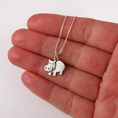 Hippo necklace by StickManJewelry on Etsy, $30.00