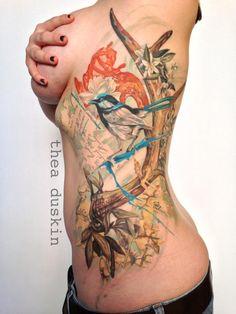 color, animals, bird, flowers, thea duskin, ghostprint, nature, rtattoos, tattoos