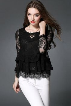 159c93d7da5685 Unomatch Women Round Neck Party Wear Sheer Lace Shirt and Blouse Black