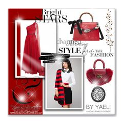 """red back ground"" by gadinarmada-1 ❤ liked on Polyvore featuring Jovani, Gucci, SALAR and Pier 1 Imports"