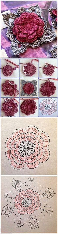 DIY Crochet Rose In 3 Ways These Crochet Flowers are pretty as a picture and perfect for adding to hats, brooches, hair cli Crochet Diy, Crochet Motifs, Crochet Flower Patterns, Crochet Diagram, Crochet Chart, Crochet Squares, Crochet Granny, Irish Crochet, Crochet Designs