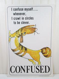 Vintage School Poster Feelings Confused Dog by vintagegoodness