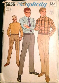 Simplicity 6956  1960s Mens SHIRT and HIPSTER SLACKS  vintage sewing pattern by mbchills