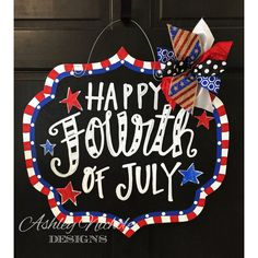 Happy Fourth of July Chalkboard Style Plaque Patriotic Decor July the... ($55) ❤ liked on Polyvore featuring home, home decor, dark olive, home & living, home décor, wood door hangers, wooden plaques, wooden home decor, wooden door hangers and wood plaque