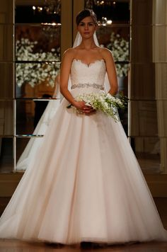 Blush pink strapless ball gown by Romona Keveza Legends, Spring 2015