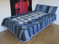 Jeans quilt - diamonds and stripes