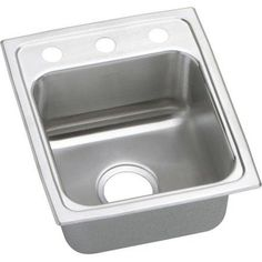 Elkay LRAD1316453 Gourmet Lustertone Stainless Steel Single Bowl Top Mount Sink with 3 Faucet Holes
