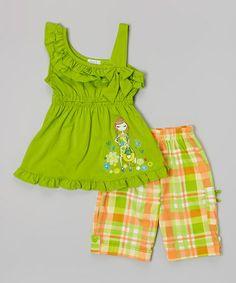 Look at this #zulilyfind! Lime Asymmetrical Ruffle Top & Shorts - Toddler & Girls #zulilyfinds
