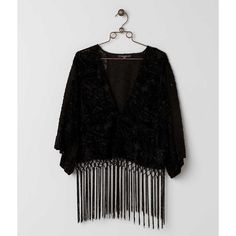 Miss Me Fringe Cardigan - Black Large ($15) ❤ liked on Polyvore featuring tops, cardigans, black, sequin embellished top, cardigan top, fringe top, sequin top and miss me