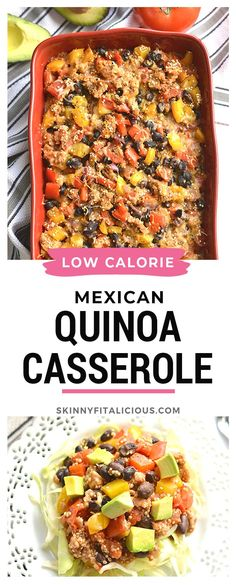 Healthy Mexican Quinoa Casserole is a low calorie dinner that's high protein. #healthy #Mexican #casserole #quinoa #blackbean #low #calorie #lowcalorie Healthy Low Calorie Meals, Low Calorie Dinners, Healthy Meal Prep, Low Calorie Recipes, Healthy Eating, Gluten Free Recipes For Dinner, Healthy Gluten Free Recipes, Healthy Chicken Recipes, Healthy Dinner Recipes