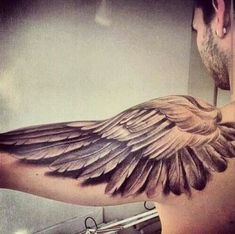 tattoos for men, wing tattoo, shoulder wing tattoo - Tattoos for men - Tatouage Eagle Wing Tattoos, Wing Tattoo Men, Wing Tattoos On Back, Wing Tattoo Designs, Back Tattoos For Guys, Angel Tattoo Designs, Feather Tattoos, Tattoo Sleeve Designs, Body Art Tattoos