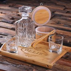 Personalised Whiskey Decanter Set with Ice Bucket and Tongs, Whiskey Glasses and Wood Tray Best Presents For Men, Gifts For Dad, Whiskey Decanter, Whiskey Glasses, Man Cave Gifts, Picture On Wood, Custom Engraving, Boyfriend Gifts, Ice Tongs