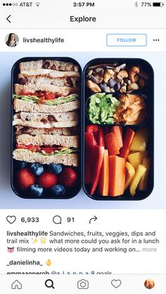 Sandwiches, fruits, veggies, dips and trail mix ✨🌟 what more could you ask for in a lunch 👅 filming more videos today and working on… Lunch Snacks, Work Lunches, School Lunches, Healthy Meal Prep, Healthy Snacks, Vegan Lunch Box, Vegan Lunches, Food Goals, Junk Food