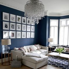 Savvy and Inspiring living room lounge hoboken you'll love Blue And Cream Living Room, Navy Living Rooms, Blue Living Room Decor, Living Room Lounge, Formal Living Rooms, Blue Rooms, Living Room Grey, Home Living Room, Interior Design Living Room