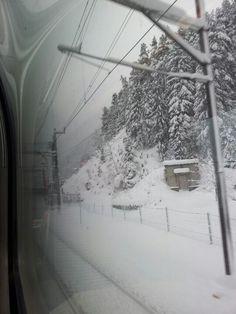 Göschenen just before entering Gotthard Tunnel Winter Wonderland