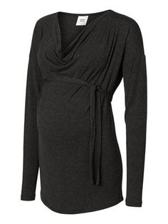 JERSEY WATERFALL MATERNITY TOP, LONG SLEEVED, Black