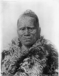 """In 1884 Tawhiao I, leader of the Waikato tribes and the second Maori """"King"""" (Matutaera Te Pukepuke Te Paue Te Karato Te-a-Potatau Tawhiao) traveled to London to try and persuade Queen Victoria to honor the Treaty of Waitangi. Upon arrival, the Queen refused to meet with him, and instead Lord Derby, Secretary of State for the Colonies, met him and said it was a New Zealand problem. We're still fighting to have the treaty honoured. Treaty Of Waitangi, Ta Moko Tattoo, Waitangi Day, Polynesian People, Maori People, Maori Art, Portrait Art, Portraits, Teaching History"""