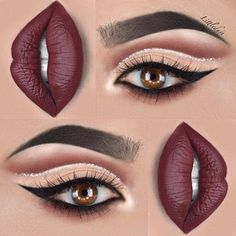 43 Christmas Makeup Ideas to Copy This Season Glitter Cut Crease + Dark Lips Holiday Makeup Looks Christmas, Holiday Nails, Maroon Matte Lipstick, Maroon Lips, Weihnachten Make-up, Maquillage Yeux Cut Crease, Tattoo Henna, Make Up Inspiration, Eye Makeup Tips