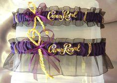 Pretty awesome! Crown Royal Bag Garter Set Purple Gold
