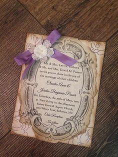 Rustic purple Wedding invitation SAMPLE Rustic por ScrappySeahorse