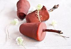 Recipe from Loving Earth for raw chocolate coated ice creams. Yum!