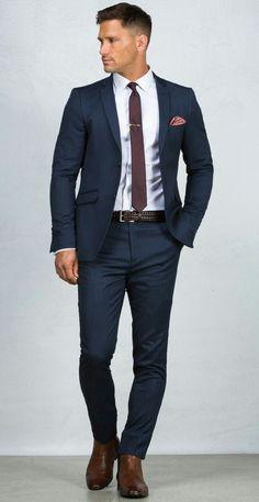 Prom 2018 ideas #suitsmenclassic Blue Suit Men, Navy Blue Suit, Navy Suit Brown Shoes, Suit For Men, Suit Styles For Men, Men's Blue Suits, Formal Suits For Men, Man In Suit, Best Suits For Men