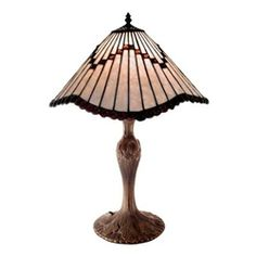 Warehouse of Tiffany 1491 Tiffany-style Cone and Stripes Table Lamp, White Stained Glass Lighting, Beautiful Table Lamp, Table Style, Handmade Lamps, Glass Lighting Design, Tiffany Style Table Lamps, Table Lamp, Striped Table, Warehouse Of Tiffany