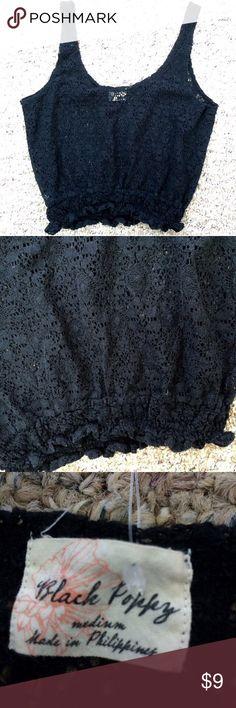 Black Poppy Lace Crop Top•Size M Black Poppy Lace Crop Top•Size Medium• Black Poppy Tops Crop Tops
