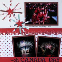 Triumph Scrapbooking Paper Pack will be perfect for any layouts using fireworks, picnics, parades, or celebration photos of Canada Day or Fourth of July.