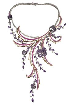 Carmen Necklace - Damiani (Silent Strength Necklaces Short Purple Pink Gold - white Sapphire Amethyst Silver - color Diamond Gold - pink)