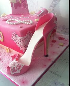 Pink lace shoe cake Pink Lace, Birthday Cakes, Cupcake Cakes, Stiletto Heels, Beauty, Shoes, Fashion, Moda, Zapatos